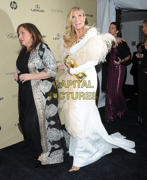guest & Heidi Klum.The Weinstein Company's 2013 Golden Globe After Party held at The Old Trader Vic's at The Beverly Hilton Hotel in Beverly Hills, California, USA..January 13th, 2013.globes full length white dress feathers wrap beige gold clutch bag shoes  trim slit split .CAP/DVS.©DVS/Capital Pictures.