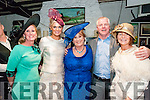 Best Hat Competition :Betty Stack, Listowel,centre,   the winner of the best hat competition at McCarhy's Bar, Finuge pictured with Melissa McGowan, judge, Margaret Hynes Cahill, runner up,  Ardfert, Eamon Breen, Judge & Catherine Burke, Tralee.