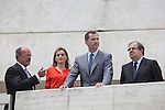 King Felipe VI of Spain (2R), Queen Letizia of Spain and Valladolid´s mayor Francisco Javier Leon de la Riva attend the 2013 'Innovation and design' awards ceremony at Museo de la Ciencia in Valladolid, Spain. July 01, 2014. (ALTERPHOTOS/Victor Blanco)