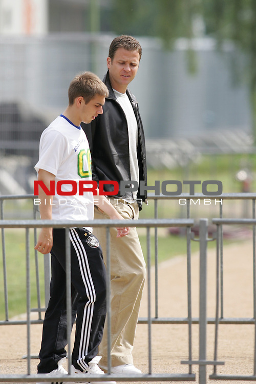 FIFA WM 2006 - Training - Germany<br /> Philipp Lahm and team manager Oliver Bierhoff (l-r) enter the court before a training session at the World Cup in Berlin. <br /> Foto &copy; nordphoto