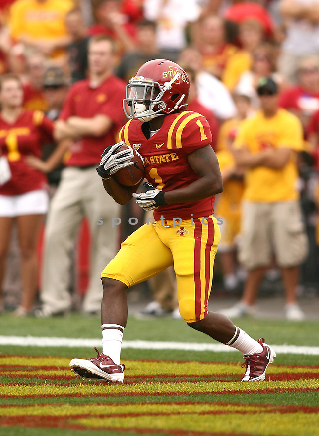 Iowa State Cyclones Jarvis West (1) in action during a game against the Tulsa Golden Hurricane on September 1, 2012 at Jack Trice Stadium in Ames, IA. Iowa State beat Tulsa 38-23.