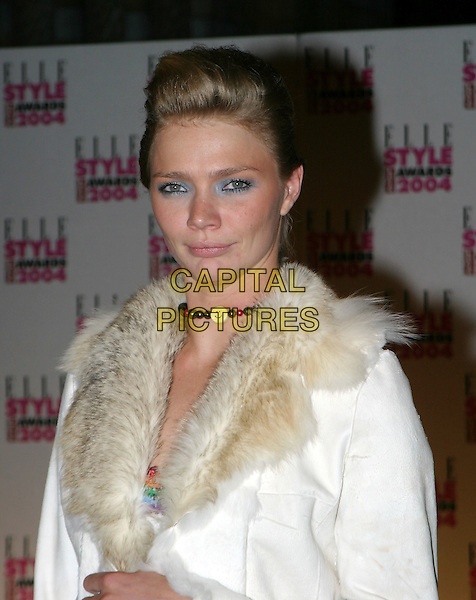 JODIE KIDD.Elle Style Awards 2004 at the Natural History Museum.16 February 2004.quiff, hair, make-up, eyeshadow, fur collar.www.capitalpictures.com.sales@capitalpictures.com.© Capital Pictures.