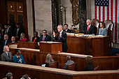 Jens Stoltenberg, Secretary General of the North Atlantic Treaty Organization (NATO) addresses a joint session of the United States Congress in the US Capitol in Washington, DC on Wednesday, April 3, 2019.  Looking on from the right are US Vice President Mike Pence, left, and Speaker of the US House of Representatives Nancy Pelosi (Democrat of California), right.<br /> Credit: Ron Sachs / CNP