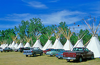Vehicles parked at tipis during annual Crow Fair at Crow Agency, Montana, AGPix_0370.