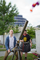 Phillip launches balls into the air with an air canon during SAM Party In The Park at the Olympic Sculpture Park in Seattle, Washington on Friday, Jun. 17, 2011.