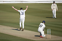 Toby Roland-Jones of Middlesex CCC unsuccessfully appeals for LBW against Dane Vilas of Lancashire CCC during Middlesex CCC vs Lancashire CCC, Specsavers County Championship Division 2 Cricket at Lord's Cricket Ground on 13th April 2019
