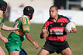 Chris Mana looks to try & fend off Nau Tapui. Counties Manukau Premier Club Rugby Game of the Week between Drury & Papakura, played at Drury Domain on Saturday Aprill 11th, 2009..Drury won 35 - 3 after leading 15 - 5 at halftime.