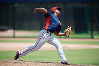 GCL Nationals relief pitcher Joan Adon (44) delivers a pitch during a game against the GCL Astros on August 6, 2018 at FITTEAM Ballpark of the Palm Beaches in West Palm Beach, Florida.  GCL Astros defeated GCL Nationals 3-0.  (Mike Janes/Four Seam Images)