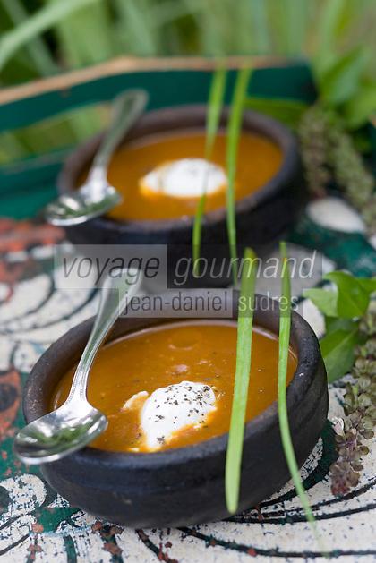 Afrique/Afrique de l'Est/Tanzanie/Zanzibar/Ile Unguja/ Stone Town: Soupe de mangue douce et tamarin avec oeuf poché, recette de Waldema Müggenburg chef du Restaurant Mitoni Marine