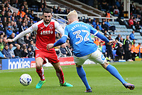 Fleetwood Town's Conor McLaughlin takes on Peterborough United's Lewis Freestone<br /> <br /> Photographer David Shipman/CameraSport<br /> <br /> The EFL Sky Bet League One - Peterborough United v Fleetwood Town - Friday 14th April 2016 - ABAX Stadium  - Peterborough<br /> <br /> World Copyright &copy; 2017 CameraSport. All rights reserved. 43 Linden Ave. Countesthorpe. Leicester. England. LE8 5PG - Tel: +44 (0) 116 277 4147 - admin@camerasport.com - www.camerasport.com