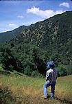 Woman hiking near Tassajara in the Ventana Wilderness