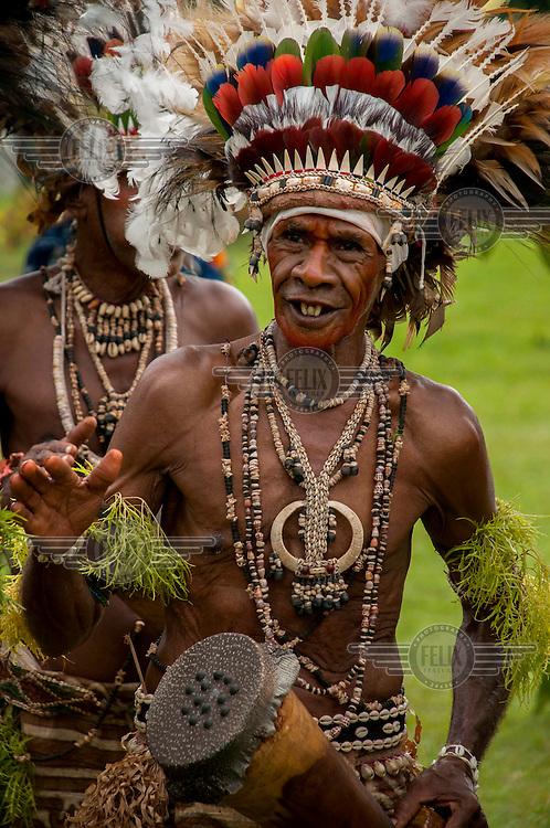 A welcoming dance troupe of the Vijari Jajora tribe.