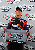 May 2, 2008; Richmond, VA, USA; NASCAR Sprint Cup Series driver Denny Hamlin after winning the pole for the Dan Lowry 400 at the Richmond International Raceway. Mandatory Credit: Mark J. Rebilas-US PRESSWIRE
