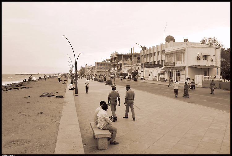 The Pondicherry walking by the sea. South India.