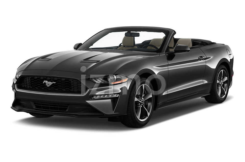 2018 Ford Mustang EcoBoost 2 Door Convertible angular front stock photos of front three quarter view