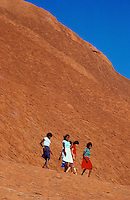 Aboriginal Teenagers exploring Ayers Rock - Images from the Book Journey Through Colour and Time