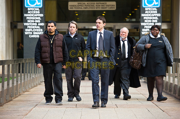 "MICHAEL PENA, MATTHEW BRODERICK, BEN AFFLECK, STEPHEN HENDERSON, GABOUREY ""GABBY"" SIDIBE.in Tower Heist.*Filmstill - Editorial Use Only*.CAP/FB.Supplied by Capital Pictures."