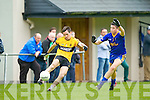Liam Kearney Spa  tries to block John Heaphy Listowel during their County Intermediate clash in Spa on Saturday