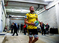 Hurricanes captain Brad Shields leads his team out for the Super Rugby match between the Hurricanes and Blues at Westpac Stadium in Wellington, New Zealand on Saturday, 7 July 2018. Photo: Dave Lintott / lintottphoto.co.nz