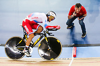 Picture by Charlie Forgham-Bailey/SWpix.com - 04/03/2016 - Cycling - 2016 UCI Track Cycling World Championships, Day 3 - Lee Valley VeloPark, London, England - Viktor Manakov of Russia in action in the Men's Omnium Individual Pursuit.