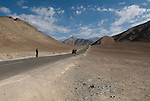 MAGNETIC HILL, LADAKH, HIMALAYA, INDIA - SEPTEMBER 29, 2009: The magnetic hill is a gravity hill near Leh in Ladakh, India. Due to an optical illusion it seems that cars can be pulled uphill. (Photo by Dirk Markgraf)