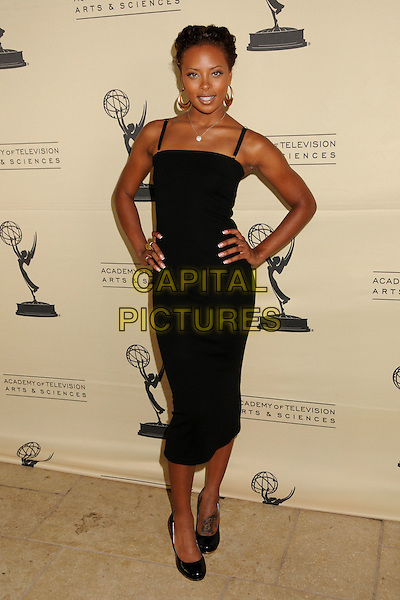 EVA PIGFORD.2008 Daytime Emmy Nominee Reception at Wilhelm's Savannah Restaurant, Burbank, California, USA..June 9th, 2008.full length dress hands on hips black gold hoop earrings .CAP/ADM/BP.©Byron Purvis/AdMedia/Capital Pictures.