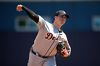 Detroit Tigers starting pitcher Kyle Funkhouser (57) during a Minor League Spring Training game against the New York Yankees on March 21, 2018 at the New York Yankees Minor League Complex in Tampa, Florida.  (Mike Janes/Four Seam Images)