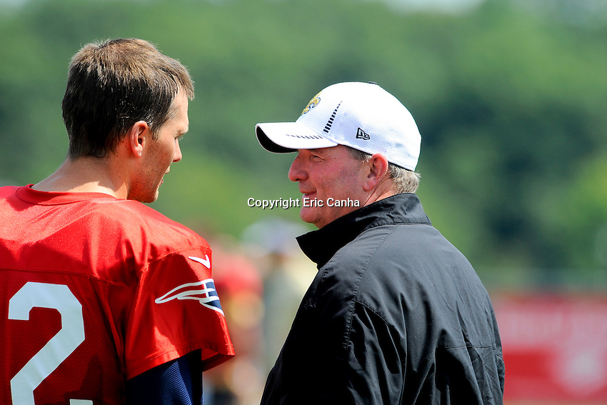 August 8, 2012 New England Patriots quarterback Tom Brady #12 and New Orleans Saints tight ends coach Terry Malone during joint practice between the Patriots and the Saints at Gillette Stadium in Foxborough Massachusetts. Eric Canha / CSM..