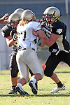 Palos Verdes, CA 10/02/09 - The Vista Murietta Broncos visited the Peninsula Panthers in a non-league contest, won 43-21 by Vista Murietta.  In action are Mitch Olsen (#63), Mitch Seymour (#75)