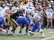 Annapolis, MD - October 7, 2017: Air Force Falcons quarterback Arion Worthman (2) avoids a tackle during the game between Air Force and Navy at  Navy-Marine Corps Memorial Stadium in Annapolis, MD.   (Photo by Elliott Brown/Media Images International)