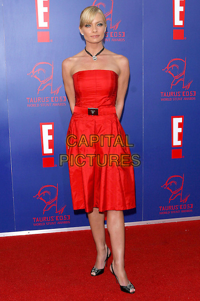 JAIME PRESSLY.5th Annual Taurus Stunt Awards held at Paramount Pictures, Los Angeles,  CA..September 25th, 2005.Photo credit: Jacqui Wong/AdMedia/Capital Pictures.Ref: JW.full length red strapless dress .www.capitalpictures.com.sales@capitalpictures.com.© Capital Pictures.