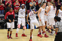 STANFORD, CA - March 30, 2014: Stanford Cardinal's Chiney Ogwumike celebrates with Jasmine Camp after Stanford's 82-57 victory over Penn State in the third round of the 2014 NCAA Women's Basketball Tournament at Maples Pavilion.