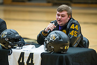 NWA Democrat-Gazette/BEN GOFF @NWABENGOFF<br /> Brendan Wrona, Bentonville football player, makes remarks Wednesday, Feb. 6, 2019, during a signing ceremony at Bentonville's Tiger Arena. Wrona signed to play at McKendree.
