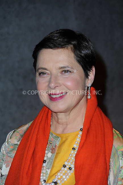 ACEPIXS.COM<br /> <br /> October 23 2014, New York City<br /> <br /> Isabella Rossellini arriving at Fashion Group International's 31st Annual Night of Stars: The Protagonists at Cipriani Wall Street on October 23, 2014 in New York City.<br /> <br /> By Line: William Bernard/ACE Pictures<br /> <br /> ACE Pictures, Inc.<br /> www.acepixs.com<br /> Email: info@acepixs.com<br /> Tel: 646 769 0430