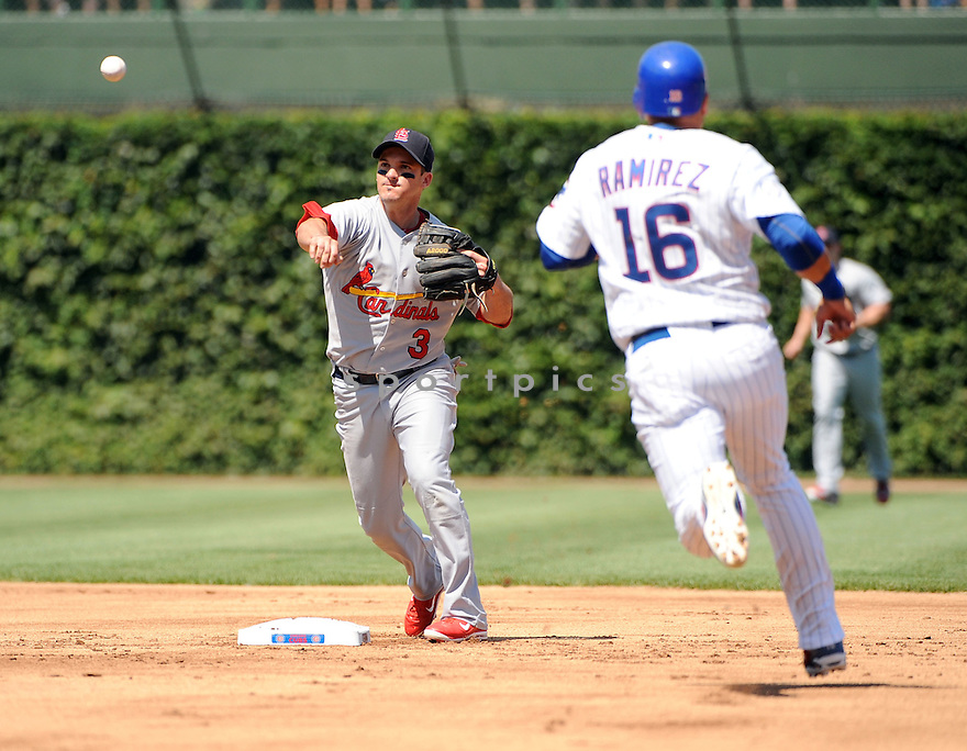 RYAN THERIOT, of the St. Louis Cardinals, in action during the Cardinals game against the Chicago Cubs on August 19, 20011, at Wrigley Field in Chicago, Illinois. The Cubs beat the Cardinals 5-4