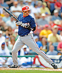 12 March 2008: Washington Nationals' infielder Aaron Boone is hit by a pitch during a Spring Training game against the Los Angeles Dodgers at Holman Stadium, in Vero Beach, Florida. The Nationals defeated the Dodgers 10-4 at the historic Dodgertown ballpark. 2008 marks the final season of Spring Training at Dodgertown for the Dodgers, as the team will move to new training facilities in Arizona starting in 2009 after 60 years in Florida...Mandatory Photo Credit: Ed Wolfstein Photo