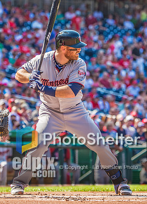 8 June 2013: Minnesota Twins catcher Ryan Doumit in action against the Washington Nationals at Nationals Park in Washington, DC. The Twins edged out the Nationals 4-3 in 11 innings. Mandatory Credit: Ed Wolfstein Photo *** RAW (NEF) Image File Available ***