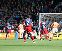 Mark Tyler of Luton fumbles Rankine's free-kick and leads to York's goal during the Blue Square Premier play-off semi-final 2nd leg  match between Luton Town and York City at Kenilworth Road, Luton on Monday 3rd May, 2010..© Kevin Coleman 2010 ..