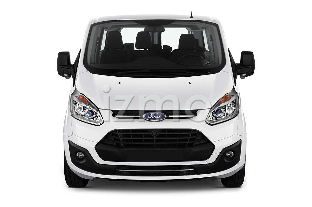 Car photography straight front view of a 2018 Ford Transit-Custom Trend 4 Door Passanger Van Front View