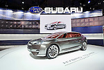 The Tourer hybrid concept car, made by Fuji Heavy Industries Ltd.'s Subaru automaker, is displayed during a pre-opening day for the media two days before the start of the 41st Tokyo Motor Show 2009 at Makuhari Messe in Chiba, Japan on Wed., Oct. 21 2009..Photographer: Robert Gilhooly