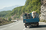 truck with cattle--travel through tunnels in the mountains from Mojkovac to Moraca  River Canyon through the Sinjajevina Range, Montenegro