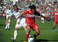 LA Galaxy forward Bryan Jordan (27) battles for the ball with Chicago defender Wilman Conde (22).  The LA Galaxy tied the Chicago Fire 1-1 at Toyota Park in Bridgeview, IL on September 4, 2010