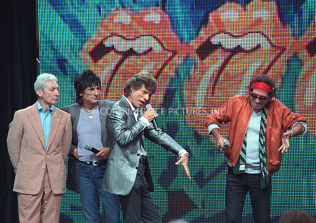 "The Rolling Stones at the press conference to announce their upcoming ""Rolling Stones World Tour 2002/2003."" Van Cortlandt Park in Bronx, New York.  May 7, 2002. Pictured (L to R): Charlie Watts, Ronnie Wood, Mick Jagger and Keith Richards. Please byline: Alecsey Boldeskul/NY Photo Press.   ..*PAY-PER-USE*      ....NY Photo Press:  ..phone (646) 267-6913;   ..e-mail: info@nyphotopress.com"