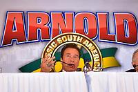 SÃO PAULO,SP - 21.04.2017 - ARNOLD-CLASSIC - Arnold Schwarzenegger, durante entrevista coletiva para divulgação do Arnold Classic South America, realizado no Hotel Transamérica , zona sul de São Paulo (SP), na noite desta sexta-feira, 21. O Arnold Classic faz sua estreia em São Paulo, após quatro anos no Rio de Janeiro, com números superlativos. (Foto: Eduardo Carmim/Brazil Photo Press)