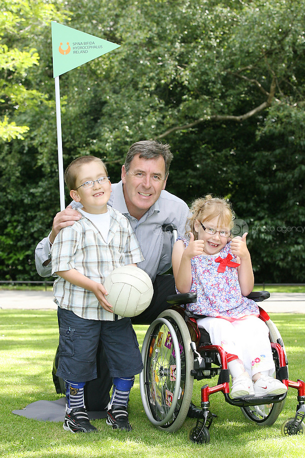 NO REPRO FEE 9/8/2010.SBHI Golf Classic. Irish sporting legend Packie Bonner is pictured at the launch of the SBHI Golf Classic with John Thomas  Cambell and Brooklyn Kerley both from Dundalj and aged 7. The Golf Classic will take place at Palmerstown House Estate, at Johnstown, County Kildare on Friday, 27th of August.  All proceeds will go to SBHI (Spina Bifida Hydrocephalus Ireland) Picture James Horan/Collins
