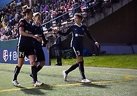 Seattle, WA - Saturday March 24, 2018: Jodie Taylor, Jessica Fishlock, Lauren Barnes during a regular season National Women's Soccer League (NWSL) match between the Seattle Reign FC and the Washington Spirit at the UW Medicine Pitch at Memorial Stadium.