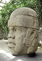 Large stone sculpture of a warrior's head from the era of the ancient Olmec civilization. Museo de Antropolgia (Museum of Anthropology)Veracruz, Mexico, Xalapa (Jalapa).
