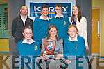 QUIZ MASTERS: The students of Mercy Mounthawk winners of the K.S.T.A. Junior Science quiz being presented with their trophy by Maria Rohan of the Kerry Group at Tralee I. T. south campus on Thursday seated l-r: Teresa Moriarty, Maria Rohan (Kerry Group) and Aine Daly. Back l-r: Andrew Fitzpatrick, Richard Raftery, Dylan O'Connor-Desmond and Stephanie Leonard (Chairperson K.S.T.A.).