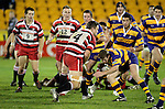 Kristian Ormsby about to make a big hit on one of his strong runs upfield. Counties Manukau Steelers vs Bay of Plenty Steamers warm up game played at Mt Smart Stadium on 14th of July 2006. Counties Manukau won 25 - 20.