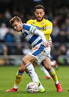 Leeds United's Lewis Baker competing with Queens Park Rangers' Luke Freeman<br /> <br /> Photographer Andrew Kearns/CameraSport<br /> <br /> The Emirates FA Cup Third Round - Queens Park Rangers v Leeds United - Sunday 6th January 2019 - Loftus Road - London<br />  <br /> World Copyright &copy; 2019 CameraSport. All rights reserved. 43 Linden Ave. Countesthorpe. Leicester. England. LE8 5PG - Tel: +44 (0) 116 277 4147 - admin@camerasport.com - www.camerasport.com